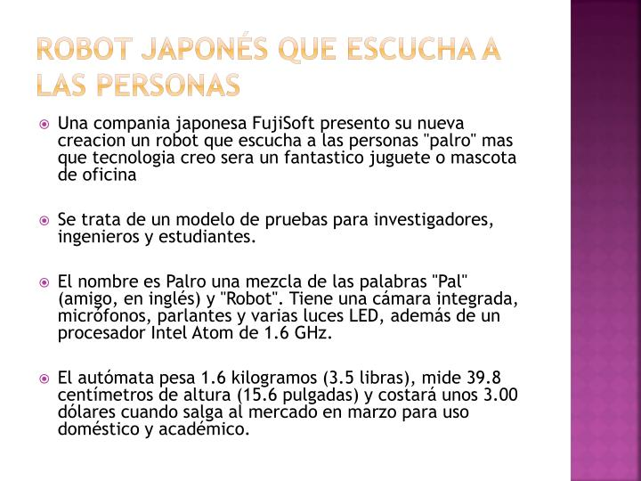 Robot japon s que escucha a las personas