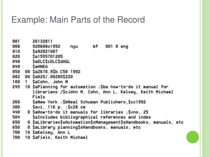 Example: Main Parts of the Record