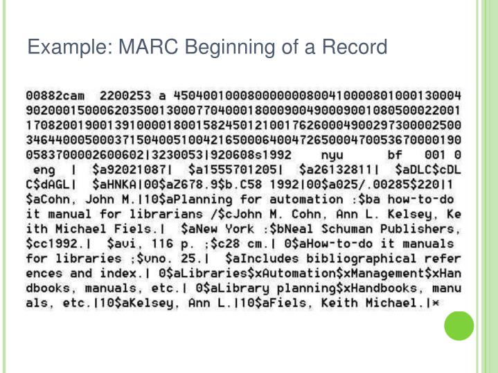 Example: MARC Beginning of a Record