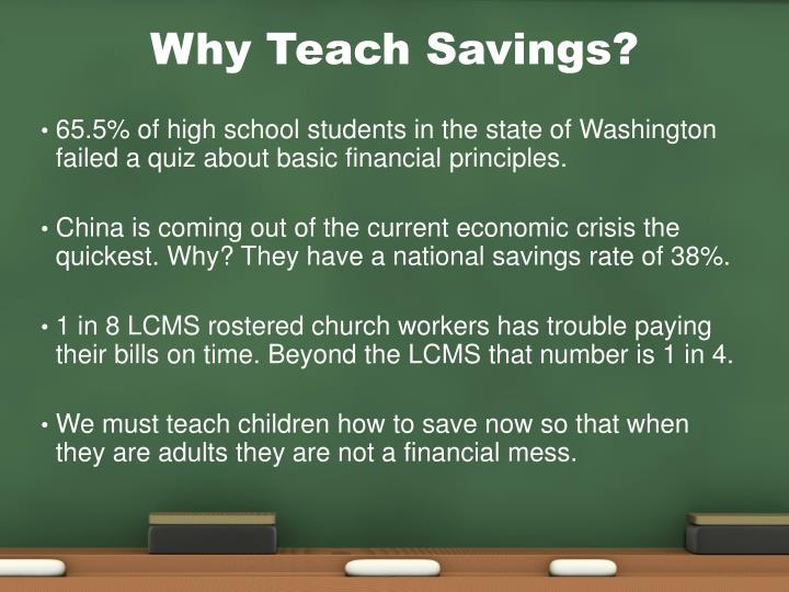 Why teach savings