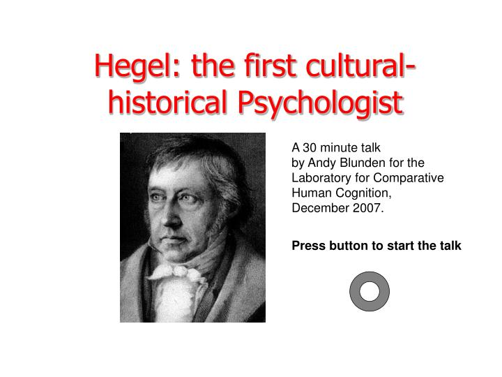 hegel the first cultural historical psychologist n.