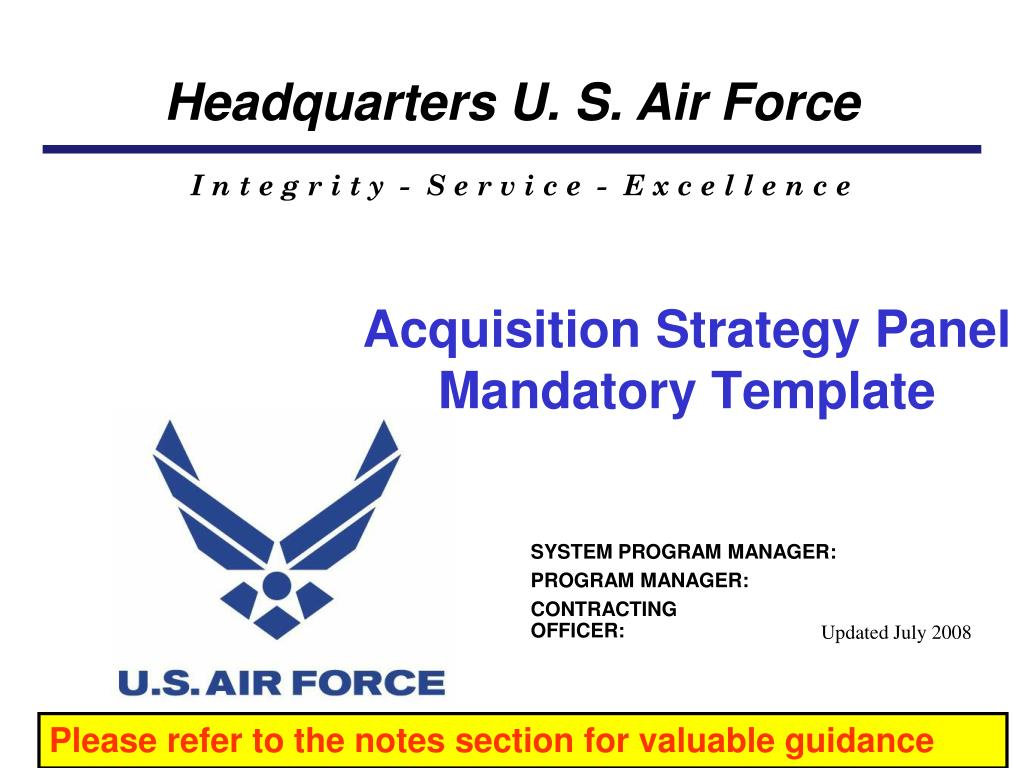 Acquisition Strategy Panel Mandatory Template N