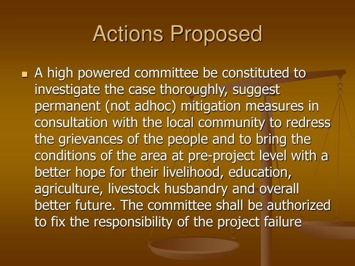 Actions Proposed
