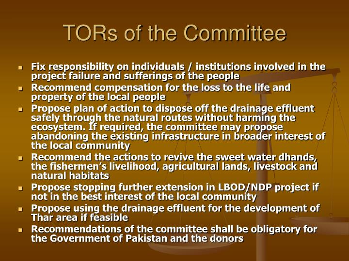 TORs of the Committee