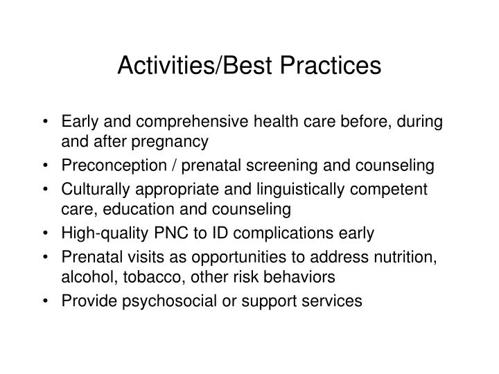 Activities/Best Practices