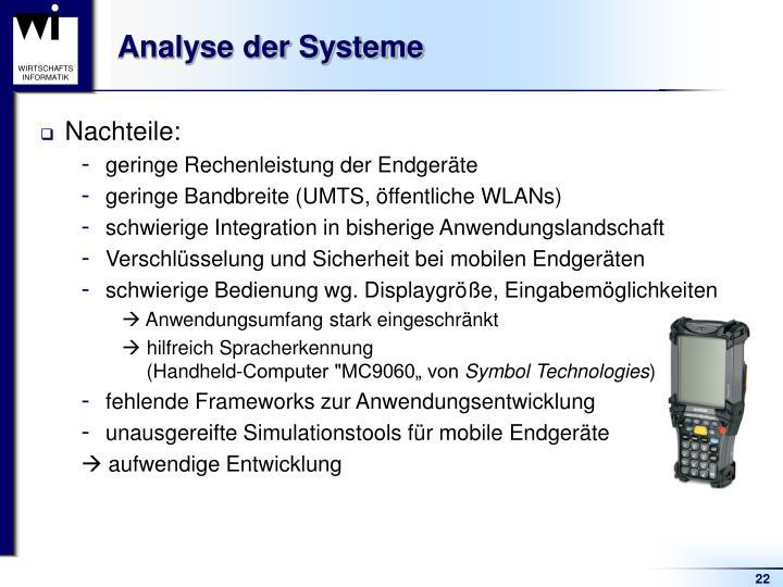 Analyse der Systeme