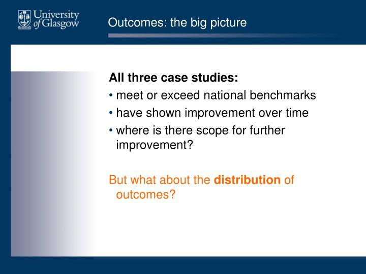 Outcomes: the big picture