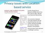 privacy issues with location based service