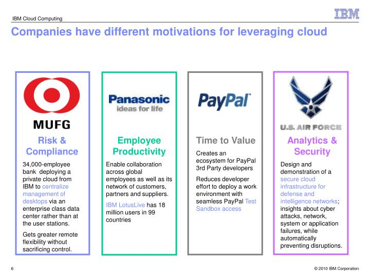 Companies have different motivations for leveraging cloud
