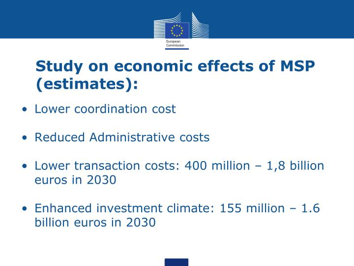 Study on economic effects of MSP (estimates):