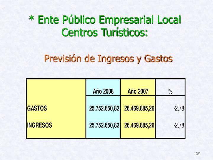 * Ente Público Empresarial Local  Centros Turísticos: