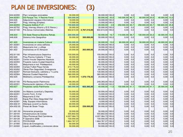 PLAN DE INVERSIONES:     (3)