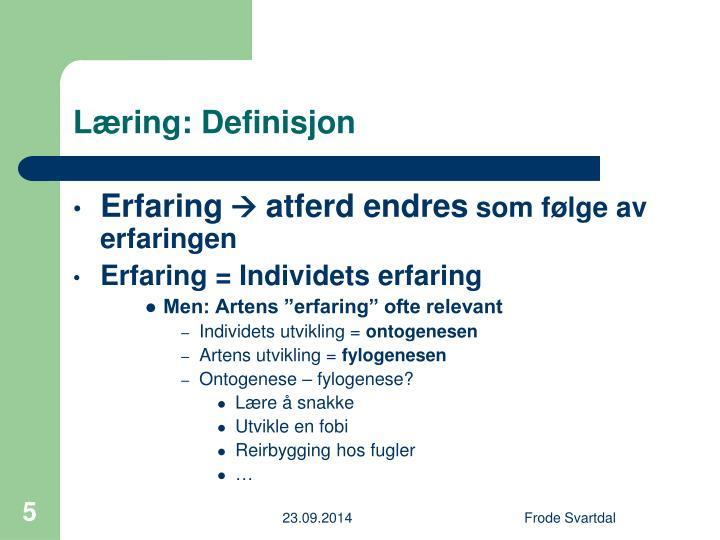 Læring: Definisjon