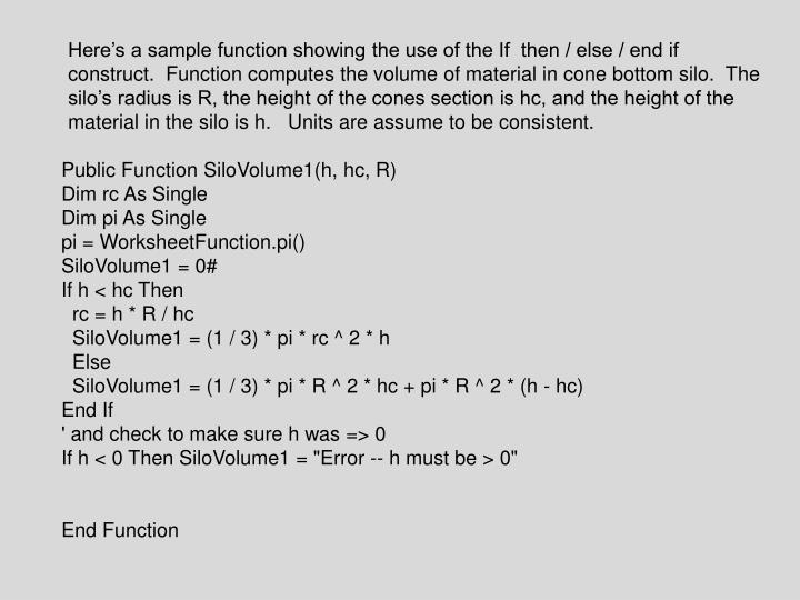 Ppt Public Function Silovolume1h Hc R Dim Rc As Single Pi. Here's A Sle Function Showing The Use Of If Then Else. Worksheet. Worksheetfunction Pi At Clickcart.co