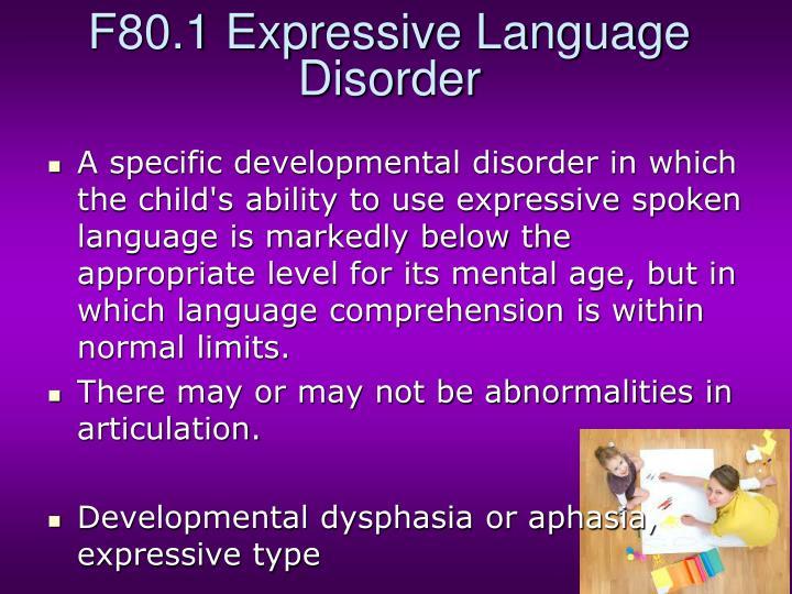 F80.1 Expressive Language Disorder