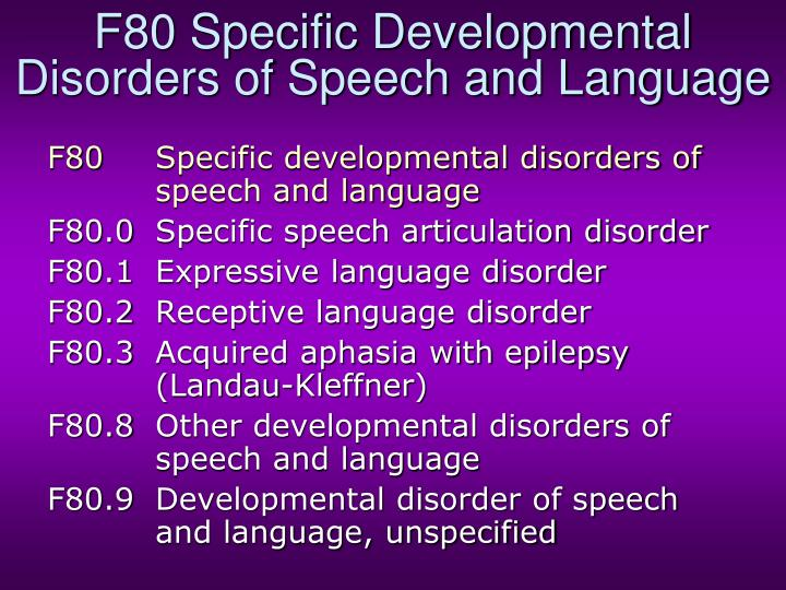 F80 Specific Developmental Disorders of Speech and Language