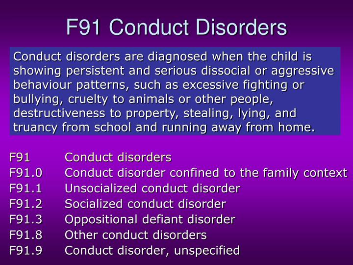 F91 Conduct Disorders