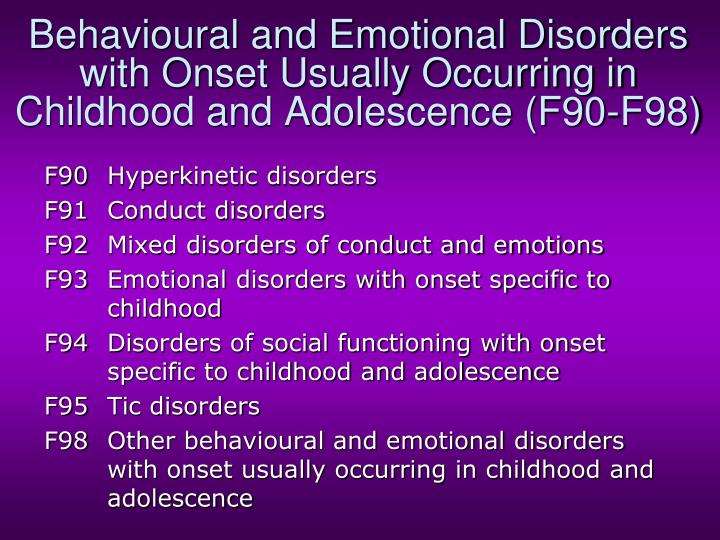 Behavioural and Emotional Disorders with Onset Usually Occurring in Childhood and Adolescence (F90-F98)