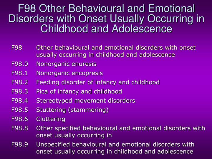 F98 Other Behavioural and Emotional Disorders with Onset Usually Occurring in Childhood and Adolescence