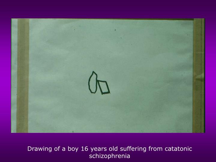 Drawing of a boy 16 years old suffering from catatonic schizophrenia