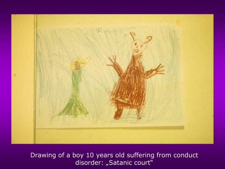 """Drawing of a boy 10 years old suffering from conduct disorder: """"Satanic court"""""""