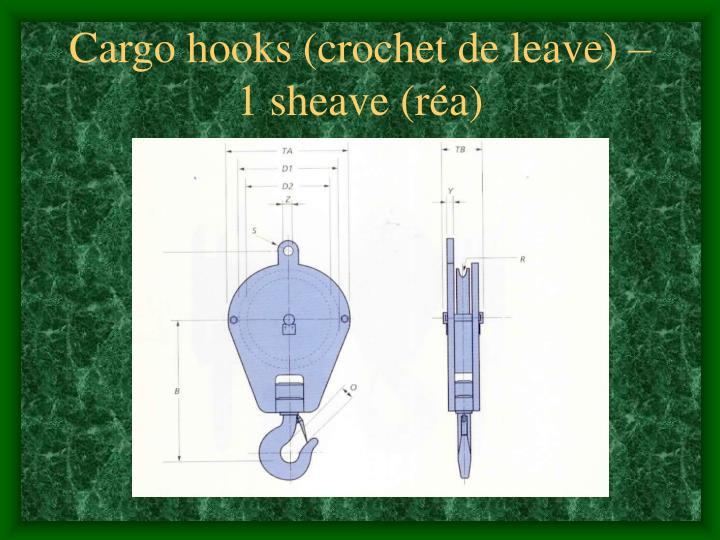 Cargo hooks (crochet de leave) – 1 sheave (réa)