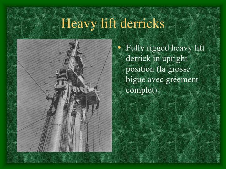 Heavy lift derricks