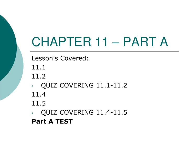 chapter 11 part a n.