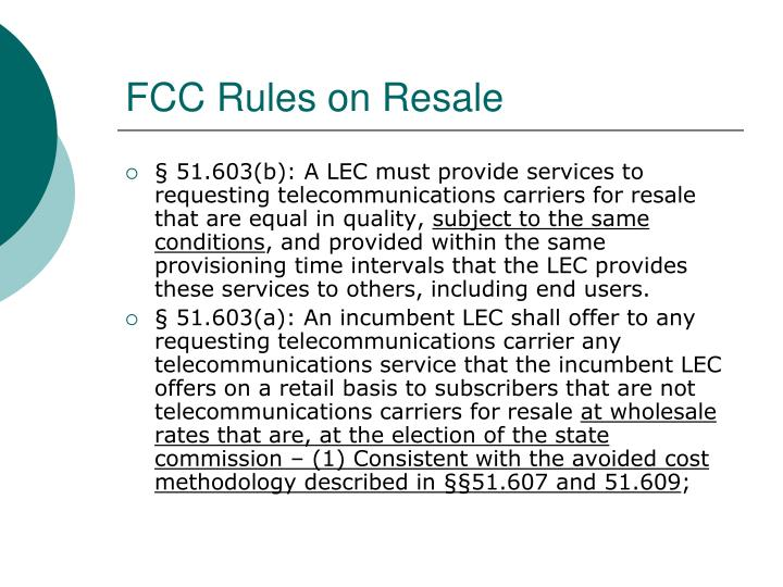 FCC Rules on Resale