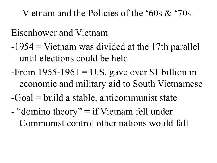 vietnam and the policies of the 60s 70s