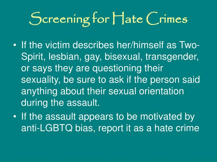 Screening for Hate Crimes