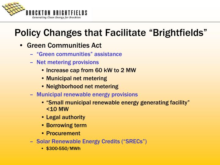 """Policy Changes that Facilitate """"Brightfields"""""""