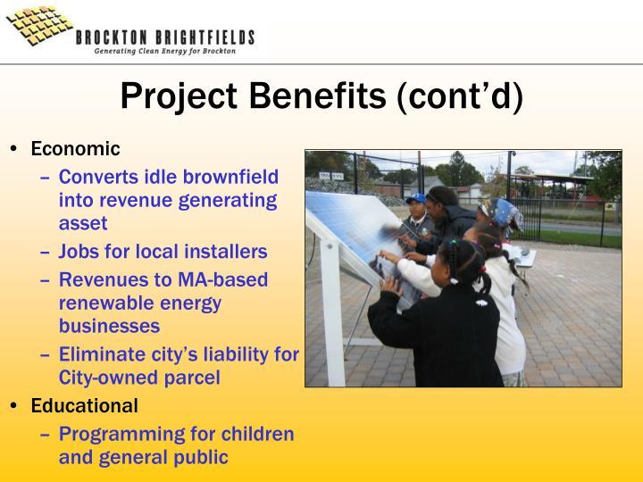 Project Benefits (cont'd)