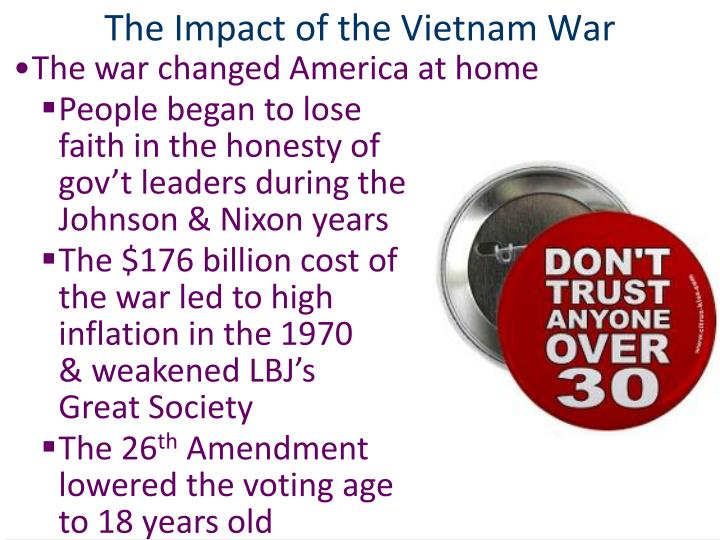 the effects of the vietnam war On 2 september 1945 at hanoi's ba dinh square, ho chi minh issued the  historic vietnamese proclamation of independence with words borrowed from the .