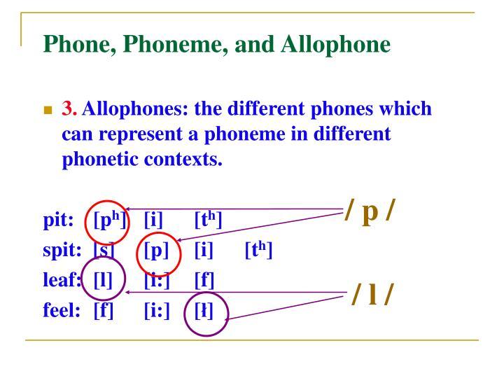 Phone phoneme allophone examples