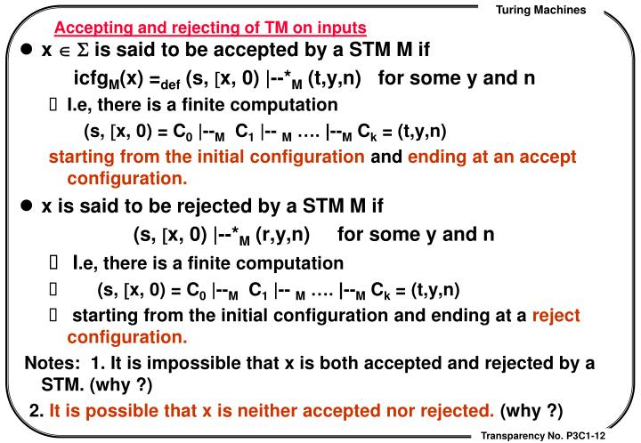 Accepting and rejecting of TM on inputs