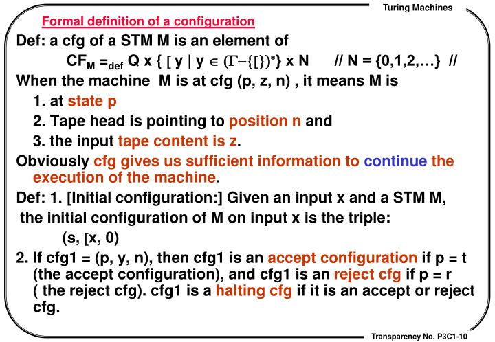 Formal definition of a configuration