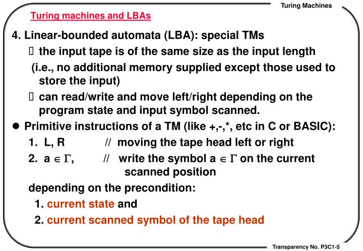 Turing machines and LBAs