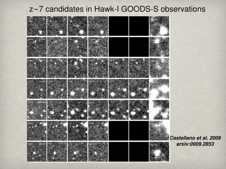 z∼7 candidates in Hawk-I GOODS-S observations