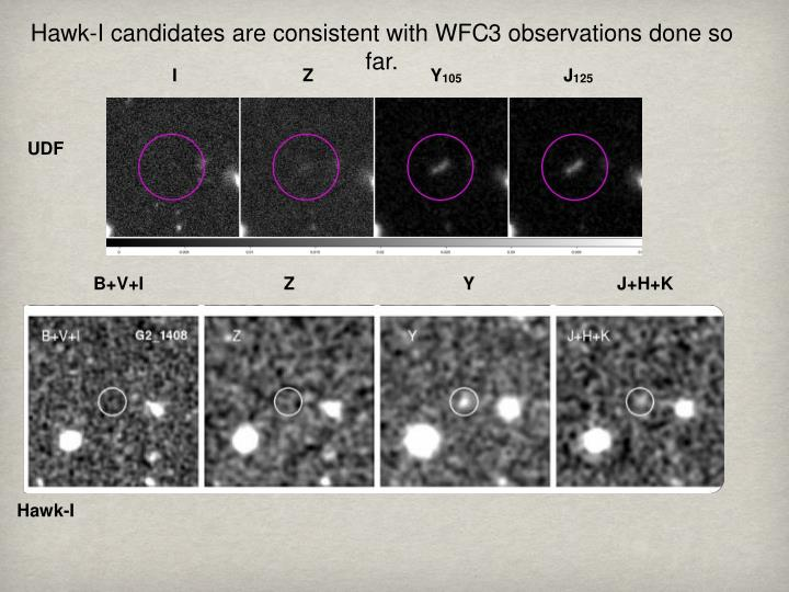 Hawk-I candidates are consistent with WFC3 observations done so far.