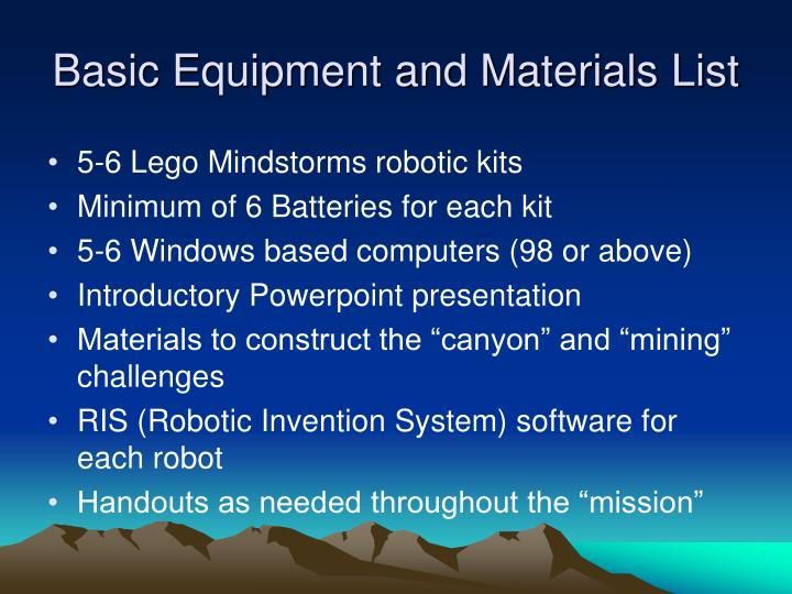 Basic equipment and materials list