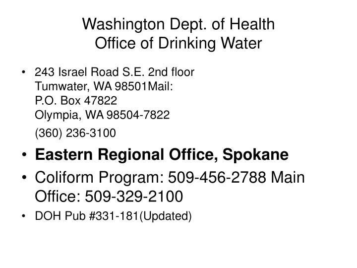 Washington Doh Drinking Water