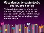 mecanismos de sustenta o dos grupos sociais