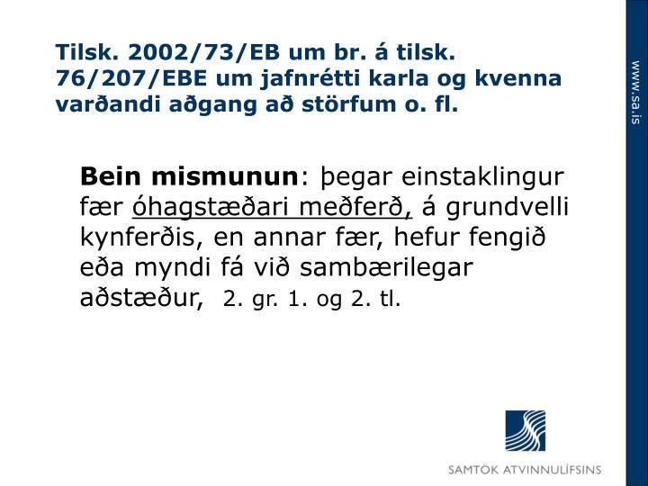 Tilsk. 2002/73/EB um