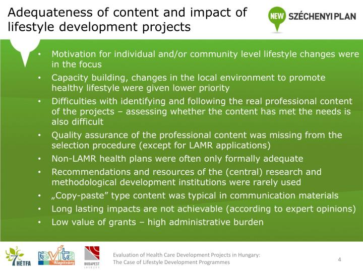 Adequateness of content and impact of lifestyle development projects