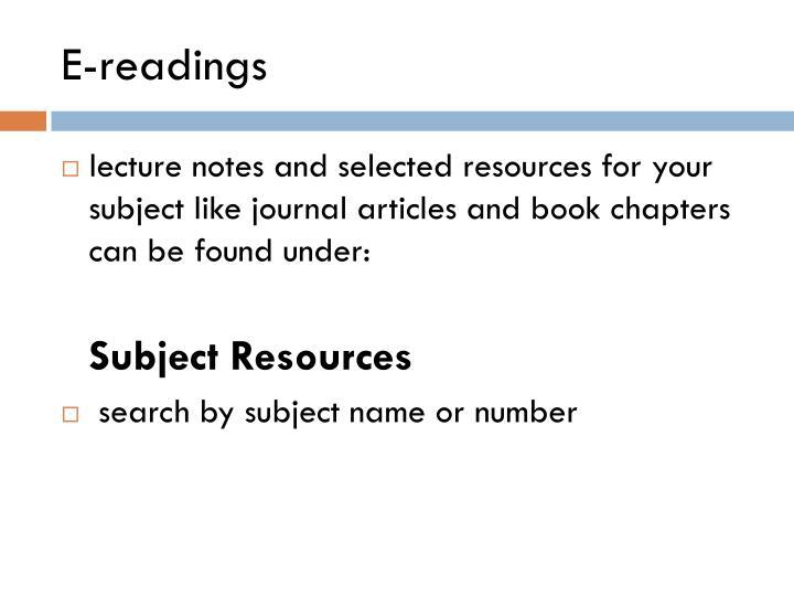 E readings