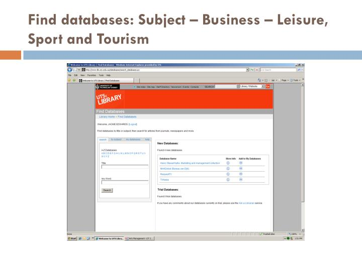 Find databases: Subject – Business – Leisure, Sport and Tourism