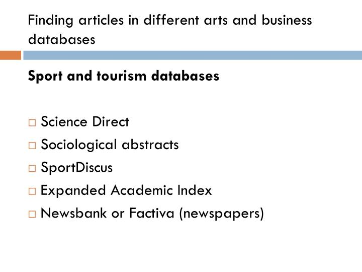 Finding articles in different arts and business   databases