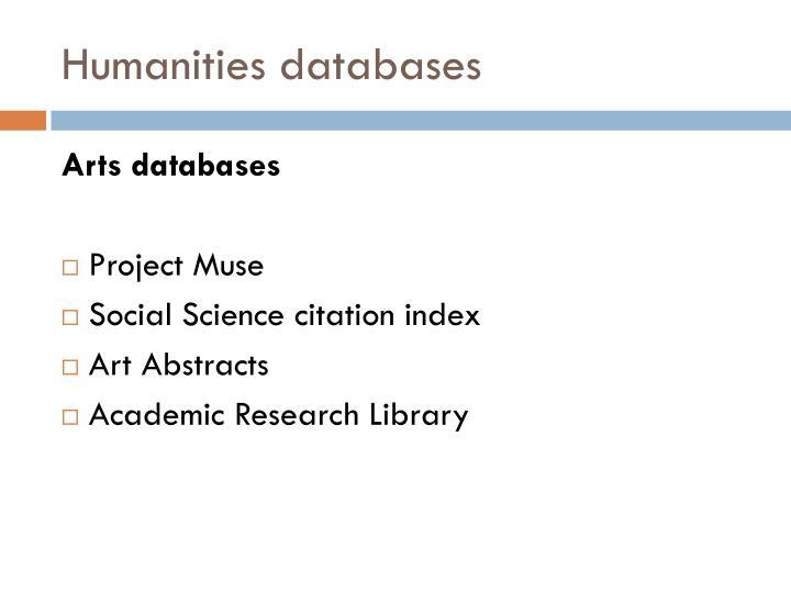 Humanities databases