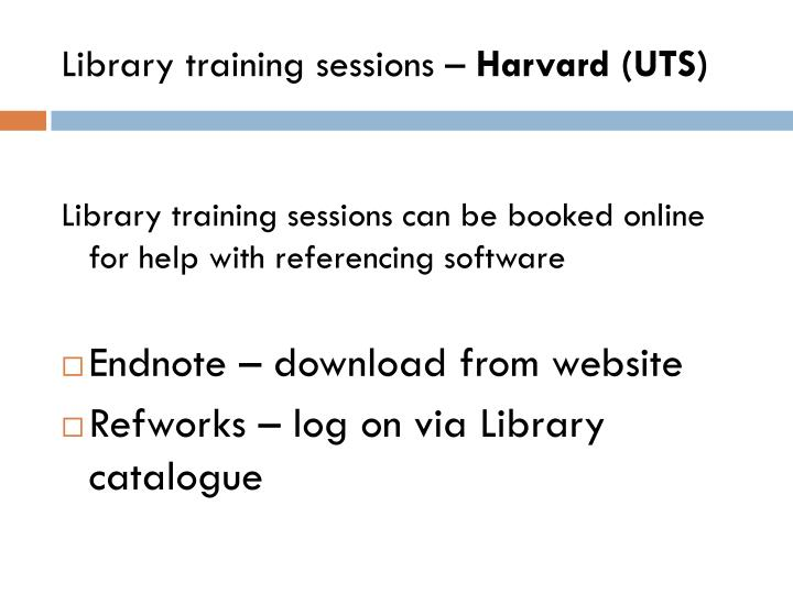 Library training sessions –
